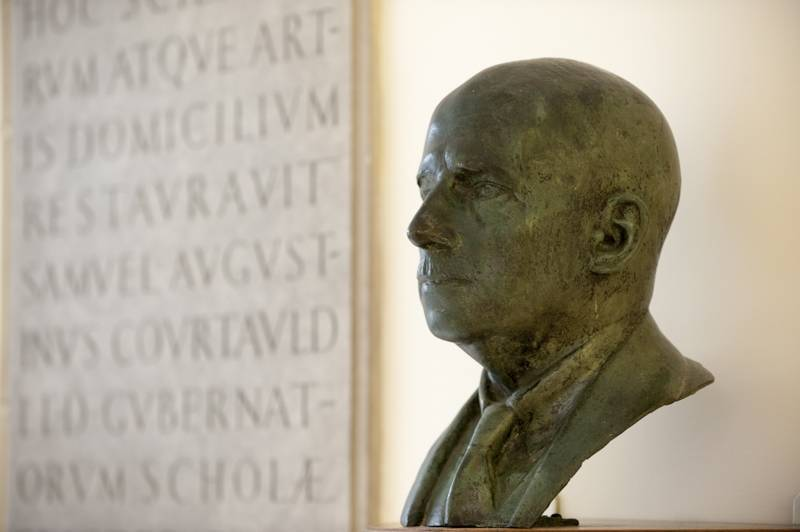 The bust of a former Felsted Headmaster