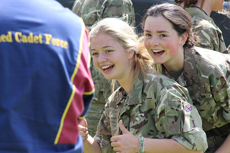 Two female members of the Combined Cadet Force pose for a photo