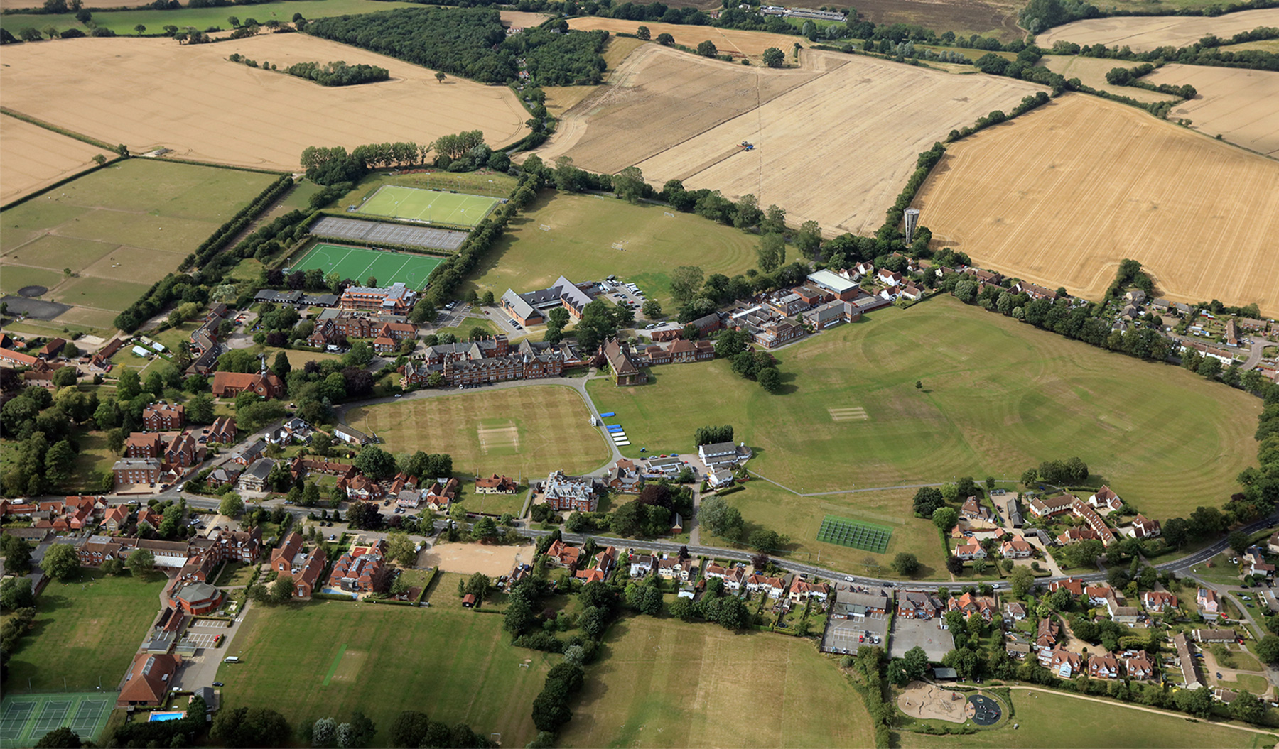 A bird's eye view of the Felsted School campus